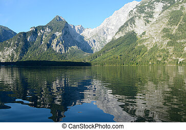 Koenigssee lake and mountains nearby Schonau in Germany