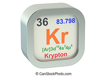 Krypton element symbol isolated on white background