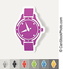 realistic design element watch - watch paper sticker with...