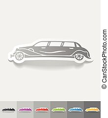 realistic design element limousine - limousine paper sticker...