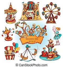Amusement Park Colored Set - Amusement kids entertainment...