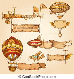 Airships With Banners - Old style airships with advertising...