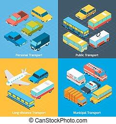 Transport Isometric Set - Transport design concept set with...