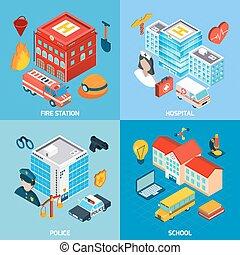 Municipal Buildings Set - Municipal buildings design concept...
