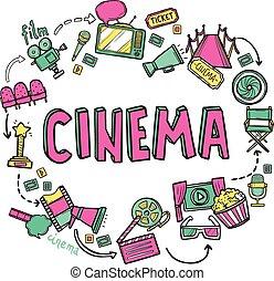 Cinema Design Concept - Cinema design concept with hand...