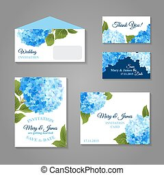 Hydrangea Invitations Set - Wedding invitation cards set...