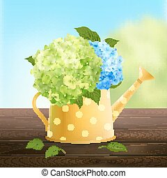 Watering Can With Hydrangea - Watering can with green and...