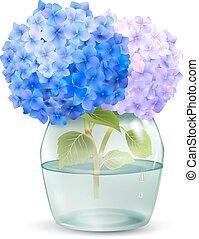 Hydrangea In Jar - Realistic hydrangea flower in glass jar...