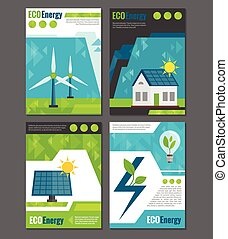 Eco energy icons poster - Eco energy solar panel and...