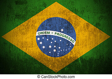 Grunge Flag Of Brazil - Weathered Flag Of Brazil, fabric...
