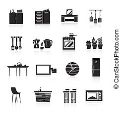 Kitchen Furniture Icons Set - Kitchen furniture and utensils...