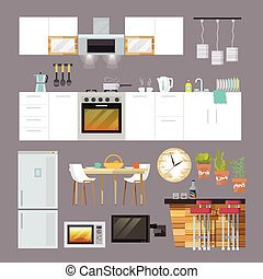 Kitchen Furniture Flat - Kitchen interior and furniture...