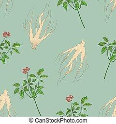 Ginseng  pattern - Ginseng seamless pattern