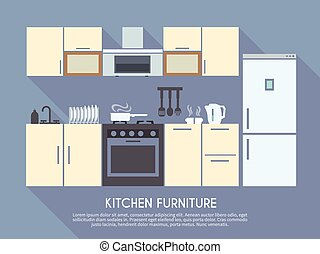 Kitchen Furniture Illustration - Kitchen interior design...