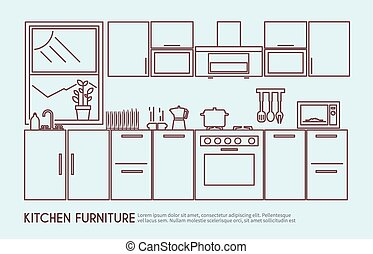 Kitchen Furniture Illustration - Modern kitchen furniture...