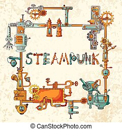 Industrial Machines Frame - Steampunk frame with industrial...