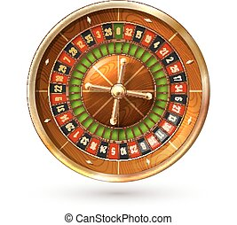 Roulette Wheel Isolated - Realistic casino gambling roulette...
