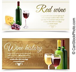 Wine Banners With Cheese - Wine horizontal banners set with...