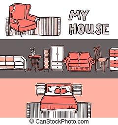 Furniture Banner Sketch - Furniture horizontal banner sketch...