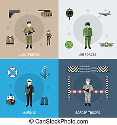 Military Flat Set - Military design concept set with land...
