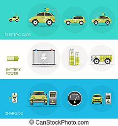 Electric Car Banners - Electric car horizontal banners set...