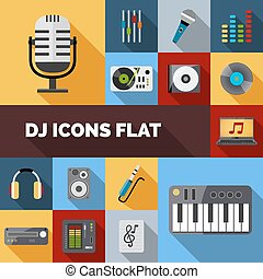 Dj Icons Flat Set - Dj audio music equipment decorative...