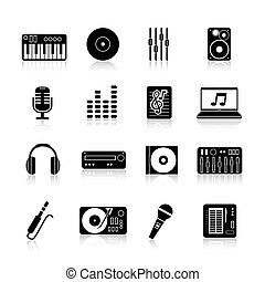 Dj Icons Black Set - Dj equipment icons black set with...