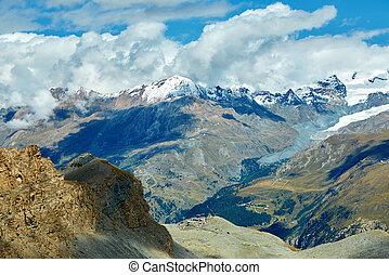 Snow capped mountains Trek near Matterhorn mount