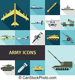 Army Icons Flat - Army icons flat set with military truck...