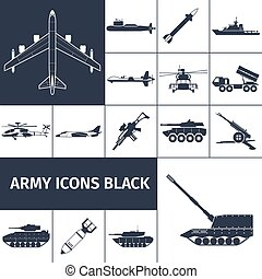 Army Icons Black - Army weapon icons black set with jet...