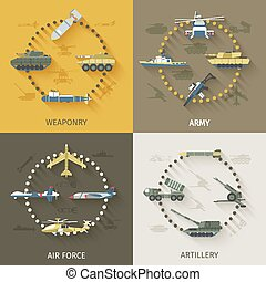 Army Flat Set - Army design concept set with weaponry air...