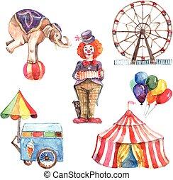 Watercolor Circus Set