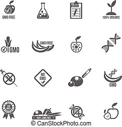 Gmo Icons Set - Gmo icons black set with healthy agriculture...