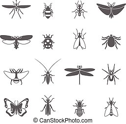 Insects Black Icons Set - Insects black icons set with bee...