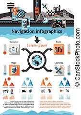 Navigation Infographic Set - Navigation infographic set with...