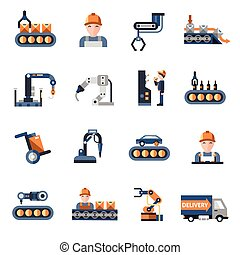 Production Line Icons - Production line industrial factory...