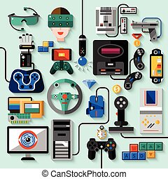 Gaming Gadgets Set - Gaming gadgets computer play...