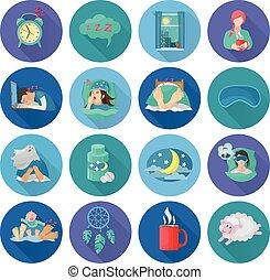 Sleep Time Icons - Sleep time flat long shadow icons set...