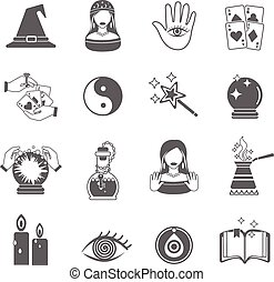 Fortune Teller Icon Set - Fortune and future teller black...