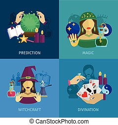 Fortune Teller Flat - Fortune teller design concept set with...