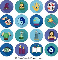 Fortune Teller Icons Flat - Fortune teller and future...