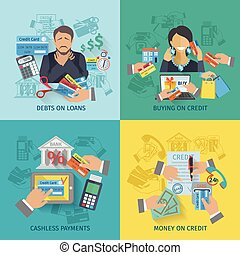 Credit Life Flat - Credit life design concept set with debts...