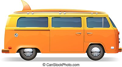 Surf Bus Realistic - Orange retro bus with surf boards...