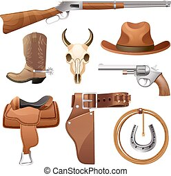 Cowboy Elements Set - Cowboy elements set with saddle hat...