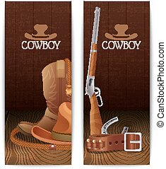 Two vertical cowboy banners with hat boots lasso belt...
