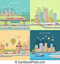 City Transpot Design Concept Set - City transport design...