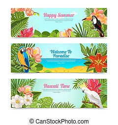 Tropical island flowers horizontal banners set - Happy time...