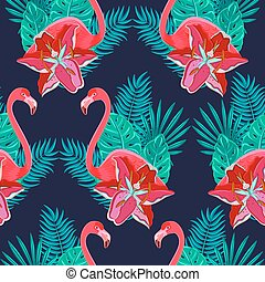 Flamingo lilies colorful seamless pattern