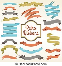 Retro ribbons cuttings composition poster - Retro ribbons...