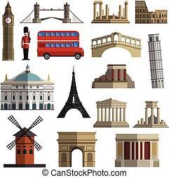 Travel landmark flat icons set - World travel historical...